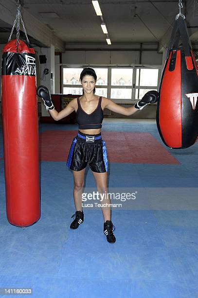 Model Micaela Schaefer trains for a tv celebrity boxing show at the Box Gym Koepenick on March 11 2012 in Berlin Germany