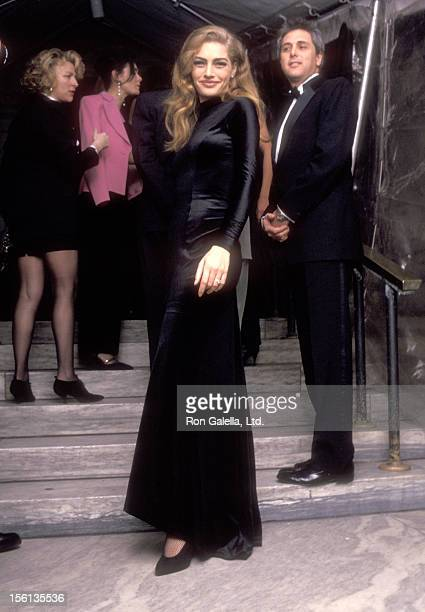 Model Michaela Bercu and date attend the 100th Anniversary Celebration of Vogue Magazine on April 2 1992 at the New York Public Library in New York...