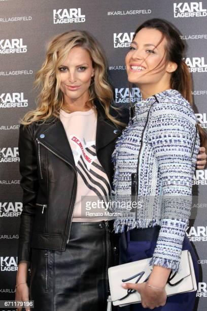 Model Michaela Kocianova and Katerina Sokolova attend the Karl Lagerfeld boutique opening on April 20, 2017 in Prague, Czech Republic. By Renato...