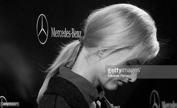 Model Michaela Kocianova waits for the parade to start at the Etxeberria fashion show during MercedesBenz Fashion Week Winter/Fall 2014 a Ifema on...