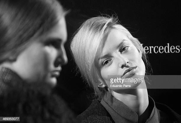 Model Michaela Kocianova waits for the parade to start at the Etxeberria fashion show during Mercedes-Benz Fashion Week Winter/Fall 2014 a Ifema on...