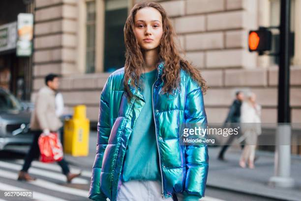 Model Michelle Gutknecht wears a metallic puffer jacket on February 12 2018 in New York City