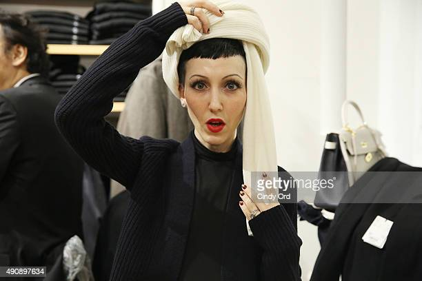 Model Michelle Harper attends the UNIQLO and LEMAIRE preshopping event at UNIQLO on October 1 2015 in New York City