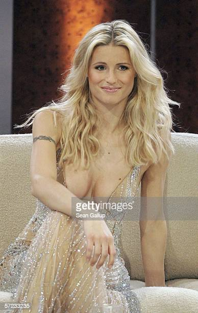 """Model Michelle Hunziker attends the talk and game show """"Wetten Dass . . . ?"""" April 1, 2006 in Halle, Germany."""