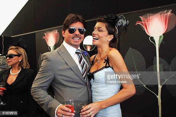 Model Michelle Walsh and fashion designer Alex ZabottoBentley attend the Melbourne Cup Carnival's Derby Day in the Moet et Chandon marquee at...
