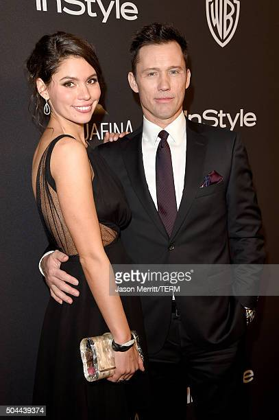 Model Michelle Woods and actor Jeffrey Donovan attend The 2016 InStyle And Warner Bros 73rd Annual Golden Globe Awards PostParty at The Beverly...