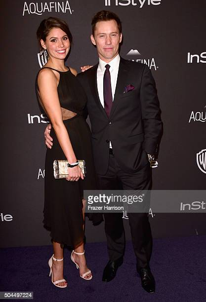 Model Michelle Woods and actor Jeffrey Donovan attends InStyle and Warner Bros. 73rd Annual Golden Globe Awards Post-Party at The Beverly Hilton...