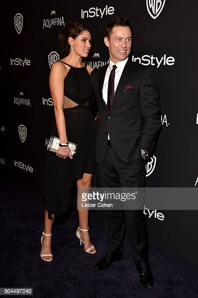 Model Michelle Woods and actor Jeffrey Donovan attends InStyle and Warner Bros 73rd Annual Golden Globe Awards PostParty at The Beverly Hilton Hotel...