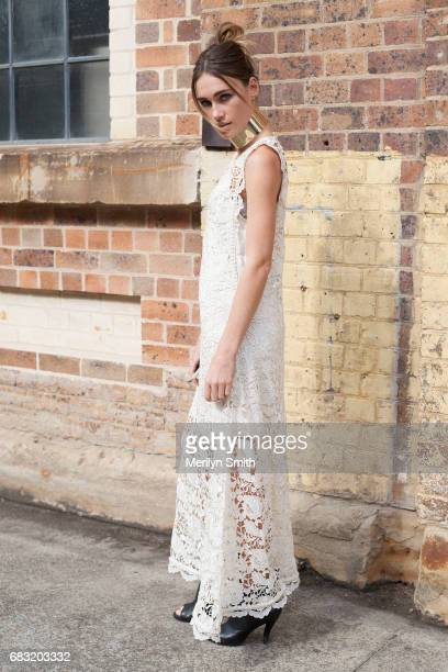 Model Miki Davis iwearing all Ixiah during MercedesBenz Fashion Week Resort 18 Collections at Carriageworks on May 15 2017 in Sydney Australia