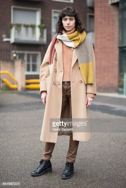 Model Mila Stomatova poses after the Lucio Vanotti show during Milan Fashion Week Fall/Winter 2017/18 on February 24 2017 in Milan Italy