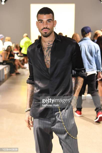 Model Miles Brockman Richie attends the Matthew Adams Dolan front row during New York Fashion Week: The Shows at Gallery II at Spring Studios on...