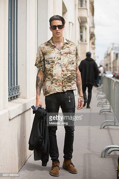 Model Miles Langford on Day 2 of Paris Haute Couture Fashion Week Autumn/Winter 2014 on on July 7 2014 in Paris France