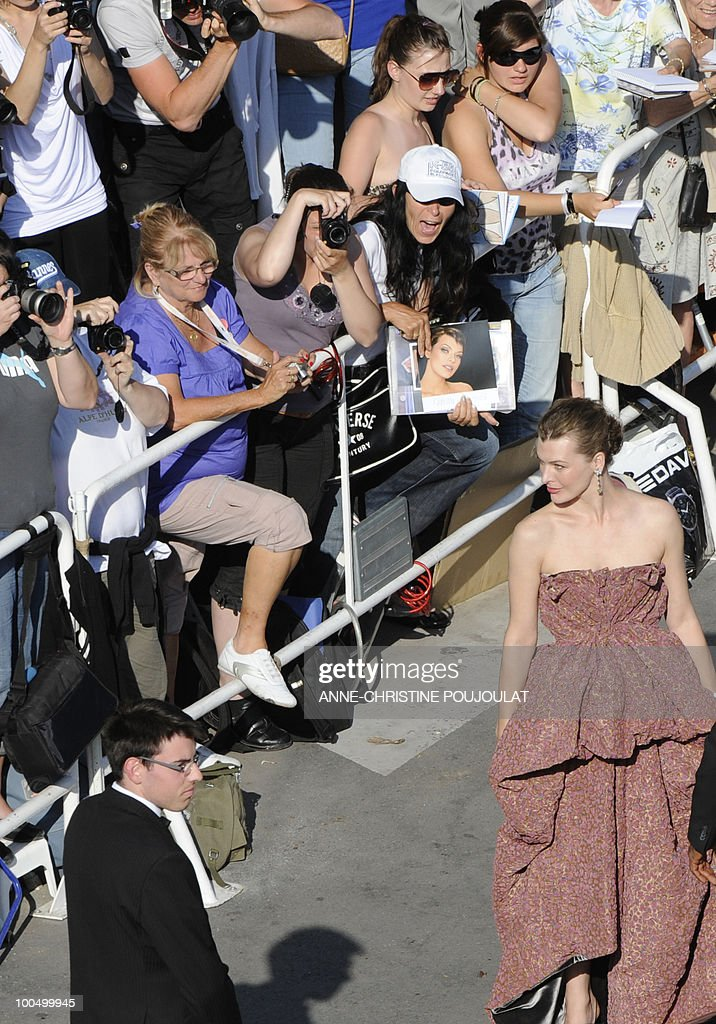 US model Milla Jovovich arrives for the screening of 'Utomlyonnye Solntsem 2: Predstoyanie' (The Exodus - Burnt By The Sun 2) presented in competition at the 63rd Cannes Film Festival on May 22, 2010 in Cannes.