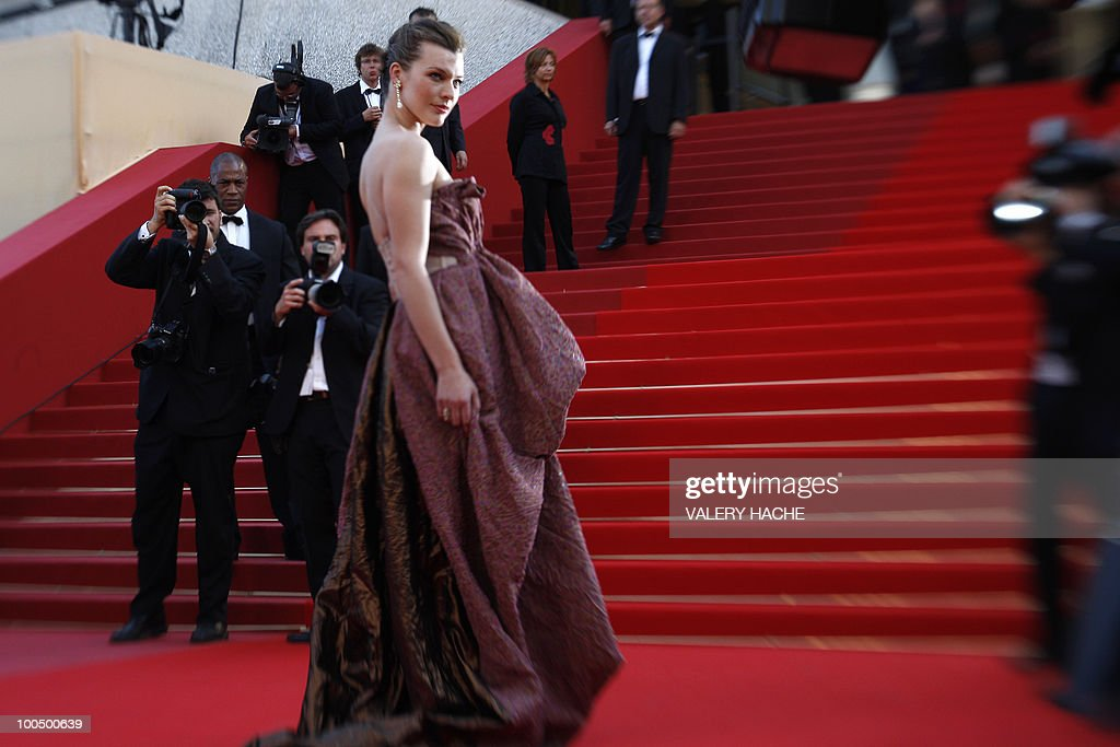 US model Milla Jovovich arrives for the screening of 'Utomlyonnye Solntsem 2: Predstoyanie' (The Exodus - Burnt By The Sun 2) presented in competition at the 63rd Cannes Film Festival on May 22, 2010 in Cannes. Picture taken with a tilt and shift lens.