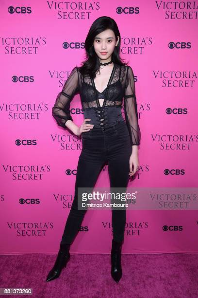 Model Ming Xi attends as Victoria's Secret Angels gather for an intimate viewing party of the 2017 Victoria's Secret Fashion Show at Spring Studios...