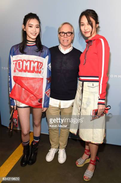 Model Ming Xi Fashion Designer Tommy Hilfiger and Anny Fan at the TommyLand Tommy Hilfiger Spring 2017 Fashion Show on February 8 2017 in Venice...