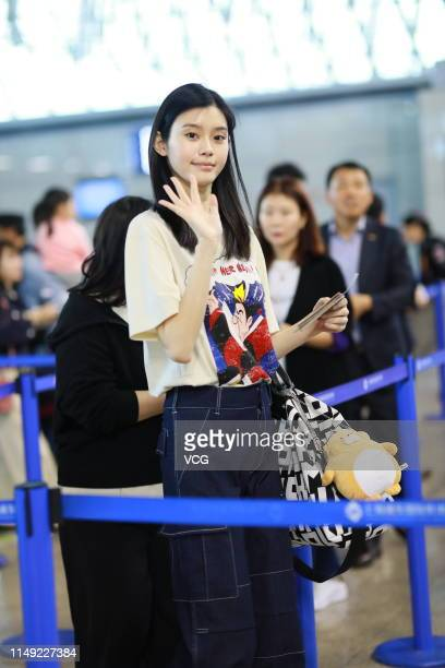 Model Ming Xi Mengyao is seen at an airport on May 15 2019 in Shanghai China