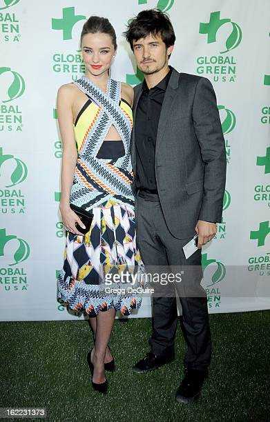 Model Miranda Kerr and actor Orlando Bloom arrive at Global Green USA's 10th Annual PreOscar party at Avalon on February 20 2013 in Hollywood...