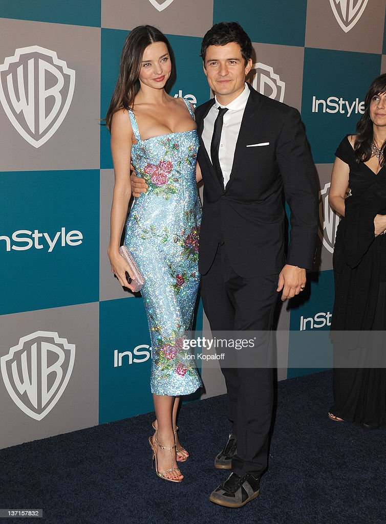 Model Miranda Kerr and Actor Orlando Bloom arrive at the 13th Annual Warner Bros. And InStyle Golden Globe After Party held at The Beverly Hilton hotel on January 15, 2012 in Beverly Hills, California.