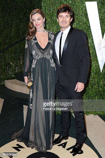 Model Miranda Kerr and actor Orlando Bloom arrive at the 2013 Vanity Fair Oscar Party hosted by Graydon Carter at Sunset Tower on February 24 2013 in...