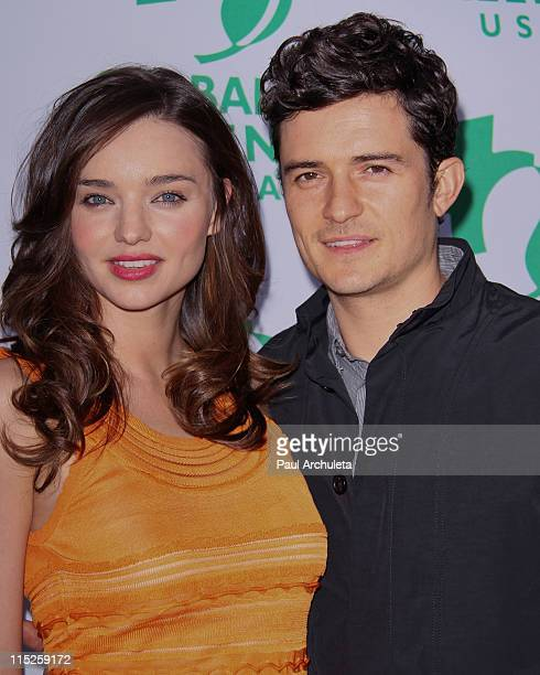 Model Miranda Kerr and Actor Orlando Bloom arrive at the Global Green USA's 15th annual Millennium Awards at Fairmont Miramar Hotel on June 4 2011 in...