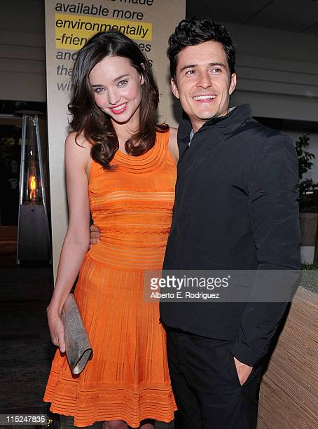 Model Miranda Kerr and actor Orlando Bloom attend Global Green USA's 15th annual Millenium Awards at the Fairmont Miramar Hotel on June 4 2011 in...