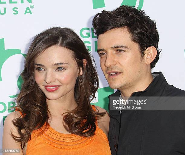 Model Miranda Kerr and actor Orlando Bloom attend Global Green USA's 15th Annual Millennium Awards at the Fairmont Miramar Hotel and Bungalows on...