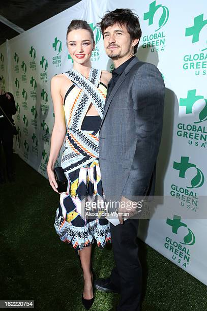 Model Miranda Kerr and actor Orlando Bloom attend Global Green USA's 10th Annual PreOscar Party at Avalon on February 20 2013 in Hollywood California