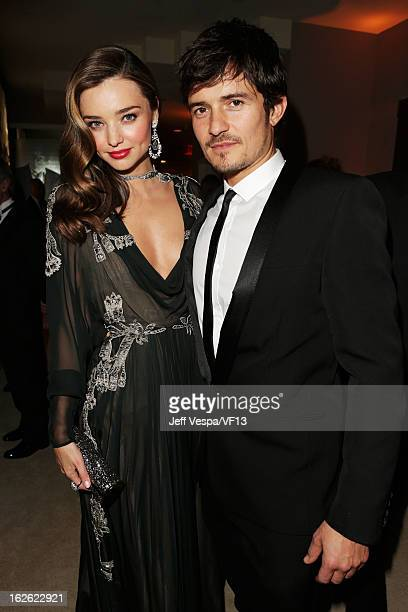 Model Miranda Kerr and actor Orlando Bloom attend the 2013 Vanity Fair Oscar Party hosted by Graydon Carter at Sunset Tower on February 24 2013 in...