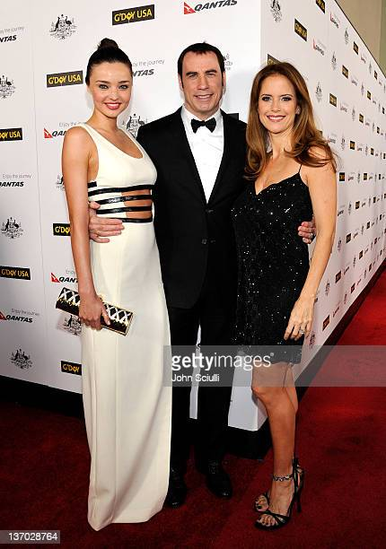 Model Miranda Kerr and actors John Travolta and Kelly Preston arrive at the 9th Annual G'Day USA Los Angeles Black Tie Gala at the Hollywood Highland...