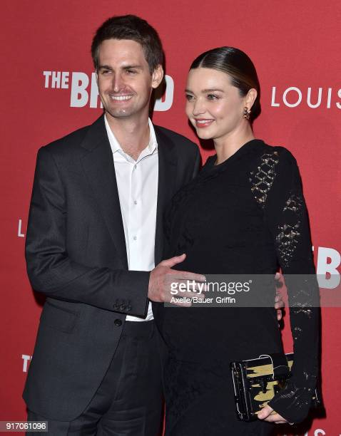 Model Miranda Kerr and Evan Spiegel attend The Broad and Louis Vuitton celebrating Jasper Johns 'Something Resembling Truth' at The Broad on February...