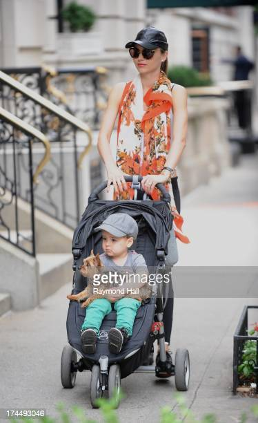 Model Miranda Kerr and Flynn Bloom are seen in Soho on July 26 2013 in New York City