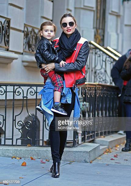 Model Miranda Kerr and Flynn Bloom are seen on November 16, 2013 in New York City.