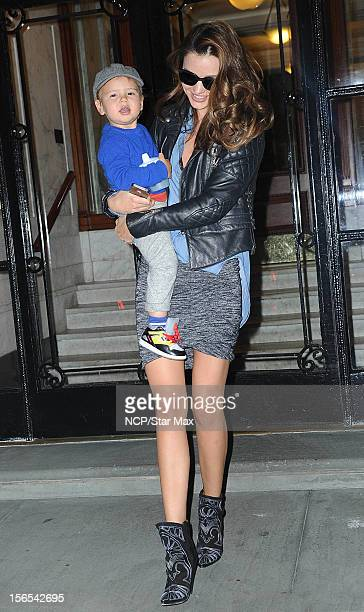 Model Miranda Kerr and Flynn Bloom as seen on November 16, 2012 in New York City.