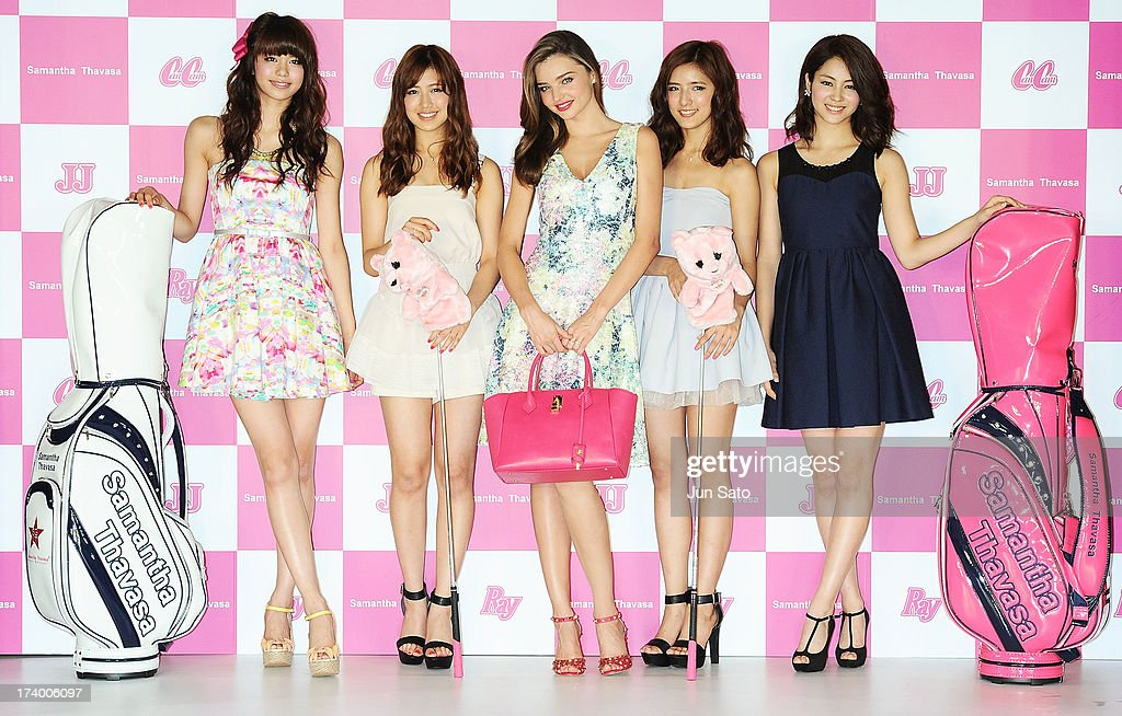 Model Miranda Kerr And Members Of E Girls Attend A Press Conference News Photo Getty Images