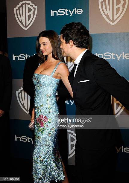 Model Miranda Kerr and Orlando Bloom arrive at 13th Annual Warner Bros And InStyle Golden Globe Awards After Party at The Beverly Hilton hotel on...