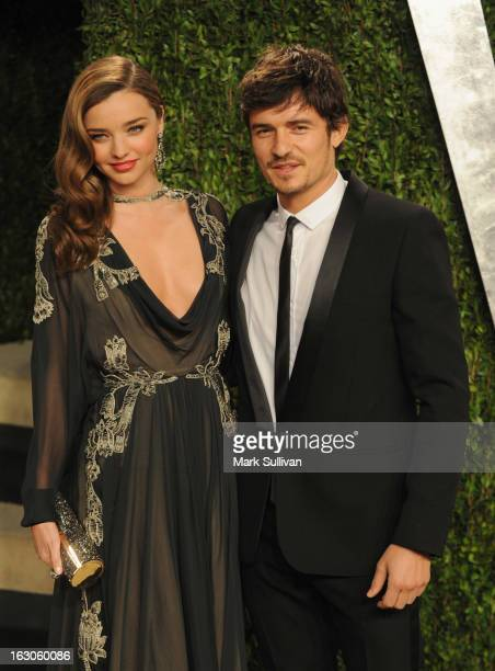 Model Miranda Kerr and Orlando Bloom arrive at the 2013 Vanity Fair Oscar Party at Sunset Tower on February 24 2013 in West Hollywood California