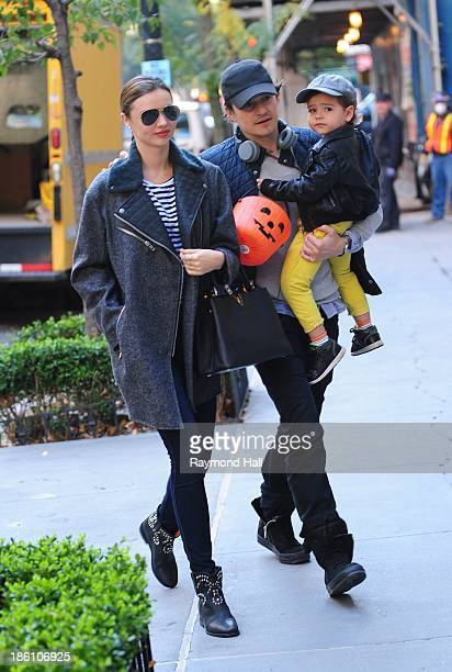 Model Miranda Kerr and Orlando Bloom with baby Flynn are seen together on Upper East Side in NYC on October 28 2013 in New York City