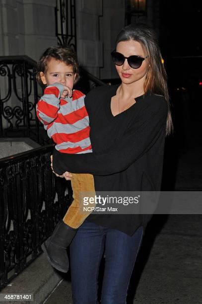Model Miranda Kerr and son Flynn Bloom are seen on December 21, 2013 in New York City.