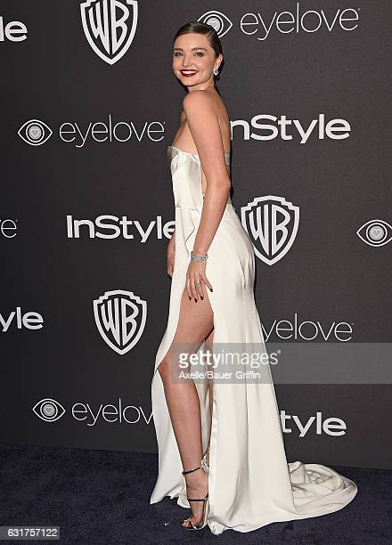 Model Miranda Kerr arrives at the 18th Annual PostGolden Globes Party hosted by Warner Bros Pictures and InStyle at The Beverly Hilton Hotel on...