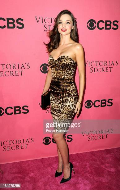 Model Miranda Kerr arrives at the 2011 Victoria's Secret Fashion Show Viewing Party at the Samueli Theater Segerstrom Center for the Arts on November...