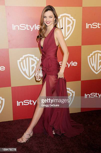 Model Miranda Kerr arrives at the InStyle and Warner Bros. Golden Globe party at The Beverly Hilton Hotel on January 13, 2013 in Beverly Hills,...