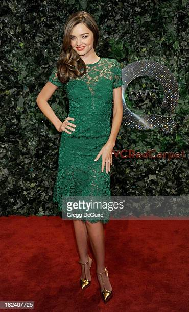 Model Miranda Kerr arrives at the QVC Red Carpet Style party at Four Seasons Hotel Los Angeles at Beverly Hills on February 22 2013 in Beverly Hills...