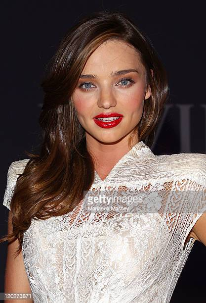 Model Miranda Kerr arrives to the reception after the show at the David Jones Spring/Summer 2011 season launch at the Royal Hall of Industries Moore...