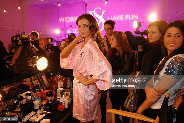 Model Miranda Kerr attends the hair makeup preparations for the 2009 Victoria's Secret fashion show>> at The Armory on November 19 2009 in New York...