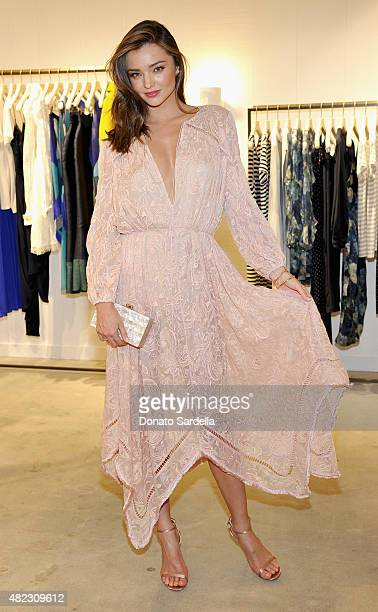 Model Miranda Kerr attends the opening of the ZIMMERMANN Melrose Place Flagship Store hosted by Nicky and Simone Zimmermann on July 29 2015 in Los...