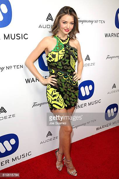 Model Miranda Kerr attends Warner Music Group's annual Grammy celebration at Milk Studios Los Angeles on February 15 2016 in Los Angeles California
