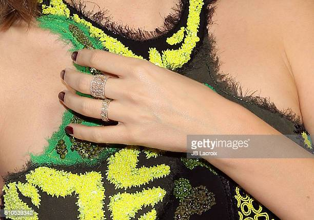 Model Miranda Kerr engagement ring detail attends Warner Music Group's annual Grammy celebration at Milk Studios Los Angeles on February 15 2016 in...