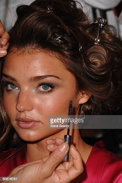 Model Miranda Kerr getting hair and makeup done before the 12th Annual Victorias Secret Fashion Show at The Kodak Theatre on November 15 2007 in...
