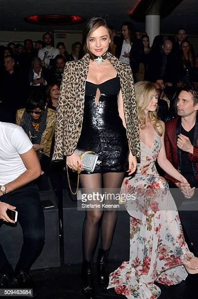 Model Miranda Kerr in Saint Laurent by Hedi Slimane attends Saint Laurent at the Palladium on February 10 2016 in Los Angeles California for the...